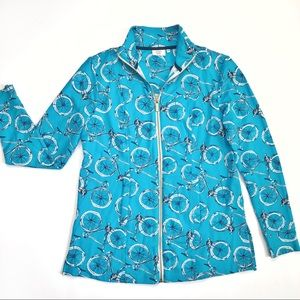 Crown & Ivy Beach Teal Bicycle Full Zip Jacket